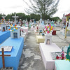 The fixed up cemetery the day after the Dia de los Muertos.  Everything is clean with new flowers on the graves.