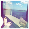 My feet in the window and my view.  On Friday.  Sunshine!