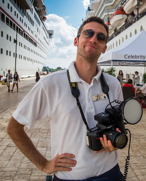 • Location - Cozumel<br /> • Since I didn't want the Celebrity photographer to take our photo, I took his. He was pretty cute.