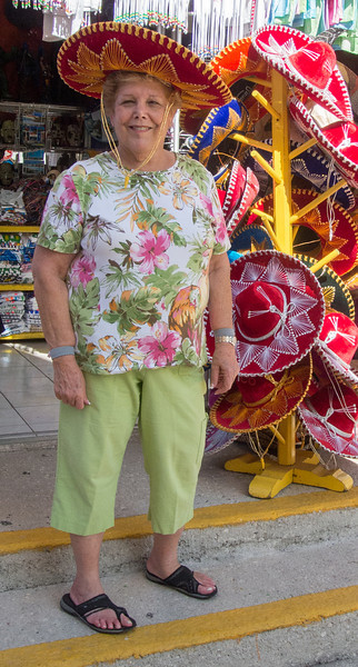 • Location - Cozumel<br /> • Sandy trying on a sombrero which fortunately she didn't buy