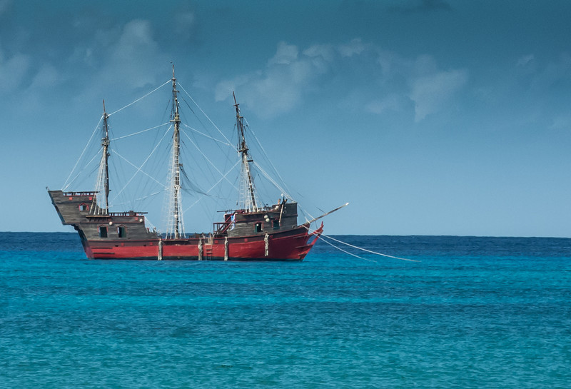 • Location - Cozumel<br /> • Old looking pirate's ship tied up in harbor