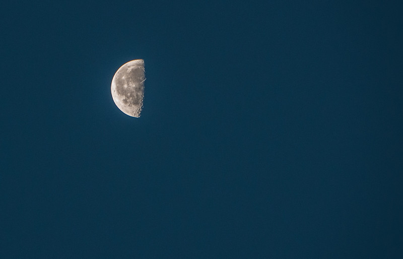 While I was waiting for sunrise I took a photo of the moon.