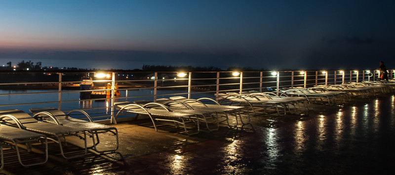 Before sunrise on the top deck of the Celebrity Constellation
