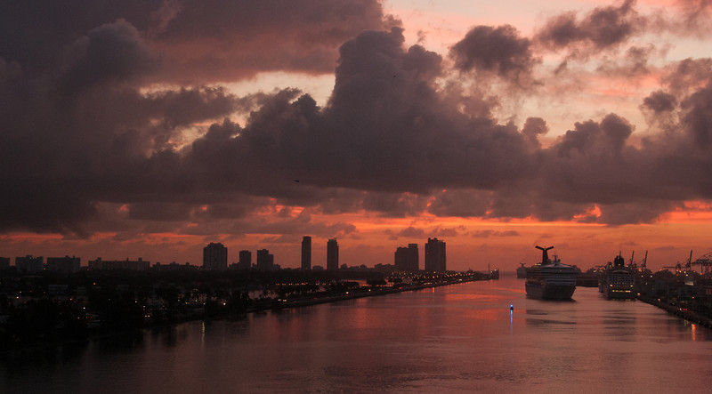 • This photo was taken from the Celebrity Constellation<br /> • Sunrise coming into the Miami Port