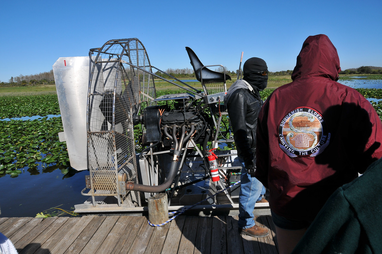 Airboat captain masked and ready!  Florida Everglades - December 2012