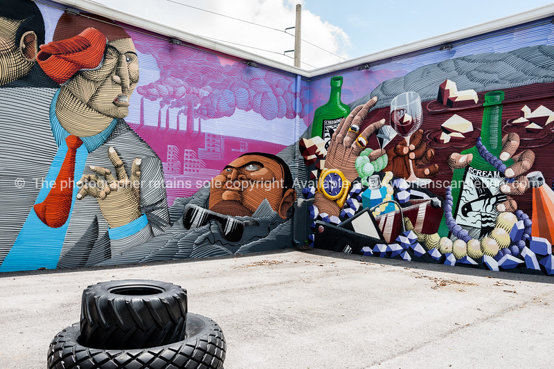 """Wynwood, Miami, street art, graffiti in the """"Art Walk"""" and old wahehouse district. Prints and downloads."""
