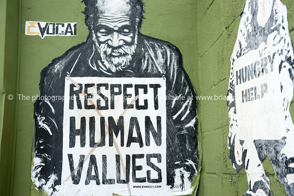 Respect Human Values street art plead.