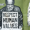 Respect Human Values street art plead.