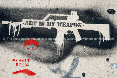"""Art is my weapon"" Wynwood, Miami, street art, graffiti in the ""Art Walk"" and old wahehouse district. Prints and downloads."