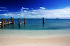 Very very fine sand makes up the small but gorgeous beach on the Dry Tortugas island.