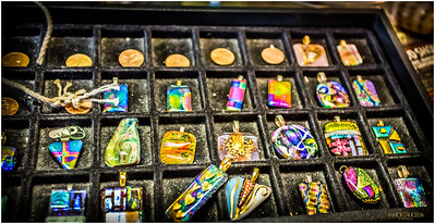 Colorful pendants and coins.