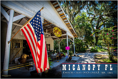 The Town of Micanopy (mick-ah-no-pee) encompasses 1.03 square miles in Alachua County between Gainesville and Ocala in rural north-central Florida. Pictured here is the Micanopy Trading & Auction Company where scenes from the movie Doc Hollywood (1991) were shot.