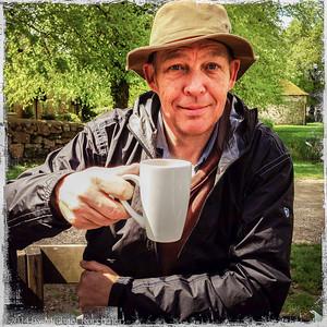 Ian Murray with a spot of tea, near the Avebury Stones (May, 2014)