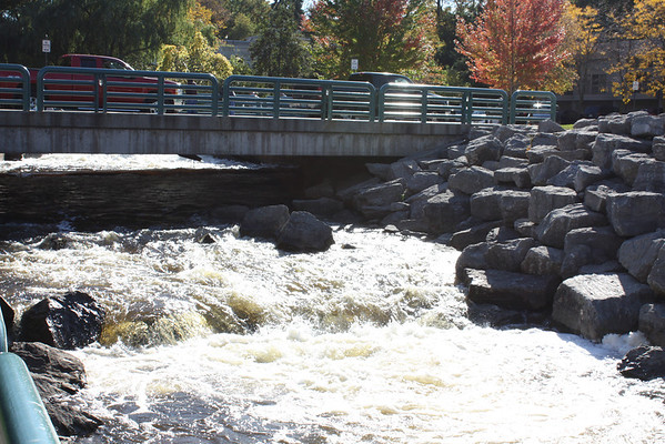 Salmon Run at mouth of Bear River in Petoskey