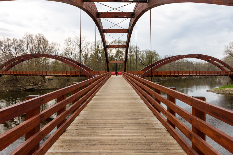 The Tridge, Midland MI - A three legged wooden bridge.
