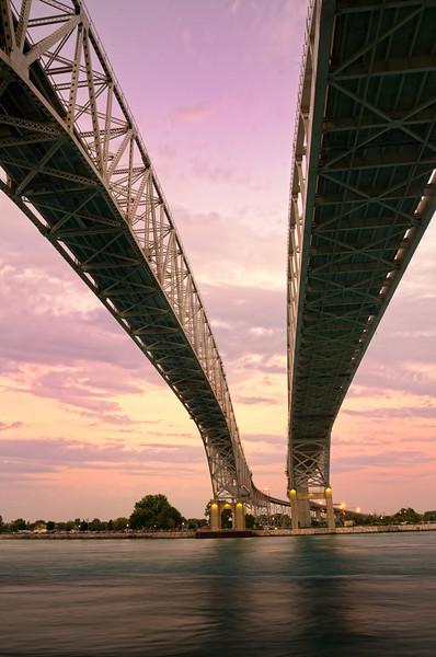 Blue Waters Bridge, Port Huron, MI at sunset