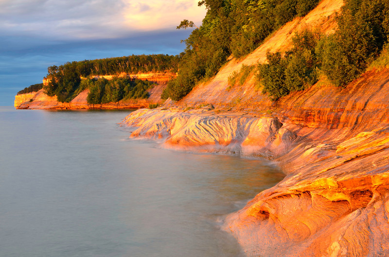 "Pictured Rocks National Park at sunset from ""Gerlach Point"""
