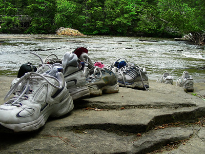 Shoes of waders at Lower Taquamenon Falls