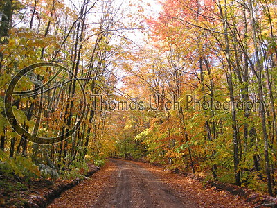 Fordney Tower road in the fall. Newberry, Michigan.