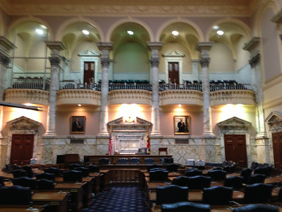Maryland State Capitol.  The iPhone camera doesn't have anti-shake, which I need in darker areas.  Maybe there'll be an app.  Copyright 2012 Neil Stahl