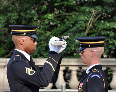 Rifle inspection during the changing of the guard at the Tomb of the Unknown Soldier