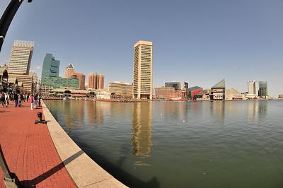 Along the first pier of Baltimore's Inner Harbor