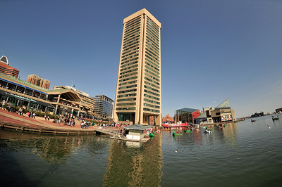 Shops and restaurants along the waterfront at the foot of Baltimore's World Trade Center