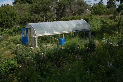 Hoop house on a garden of the Farm, Tribler Road, Monhegan