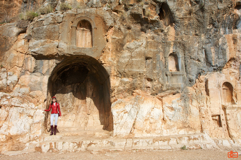 Rosa at Banias. Some of the carved niches in Banias.<br /> IMG_0906
