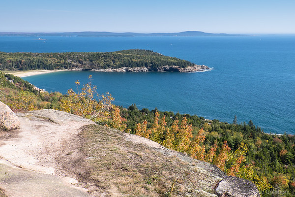 a view of Sand Beach from high on Gorham mountain