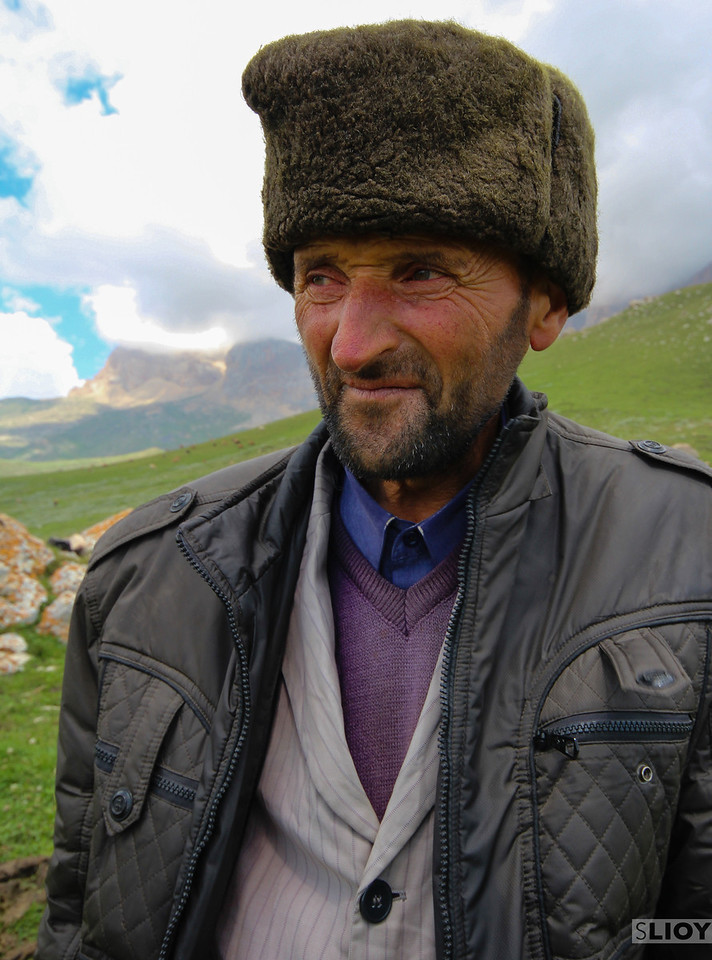 Friendly shepherd.<br /> <br /> near Xinaliq, Azerbaijan
