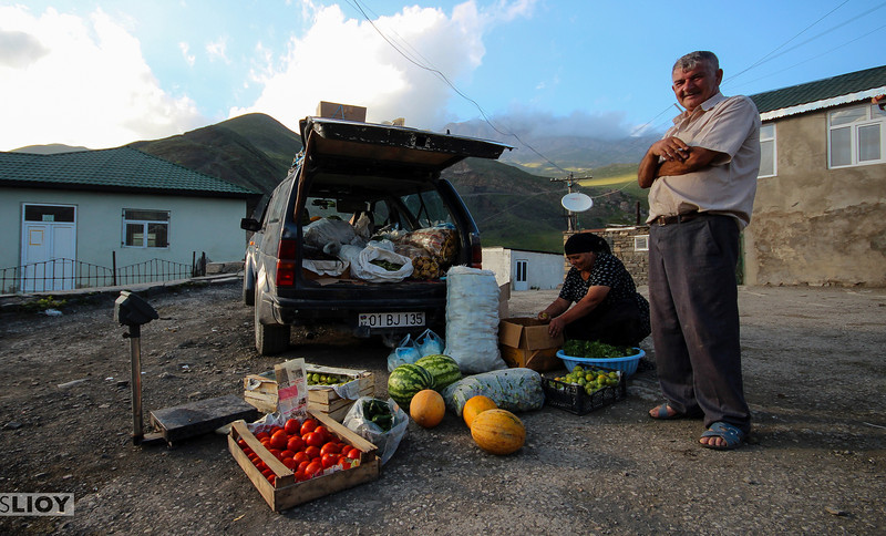 Moving market man.<br /> <br /> Xinaliq, Azerbaijan