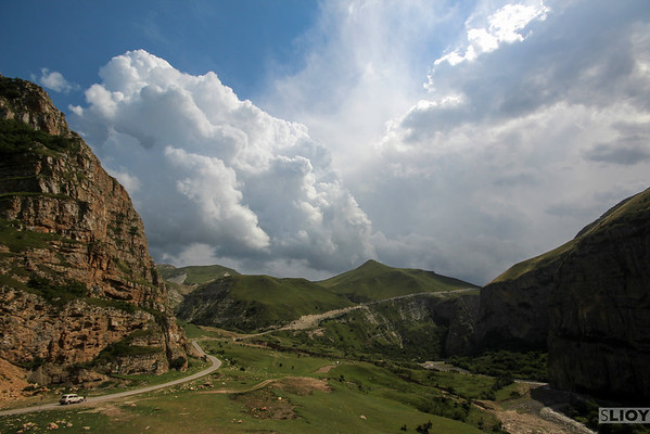 Mountain road. <br /> <br /> near Xinaliq, Azerbaijan