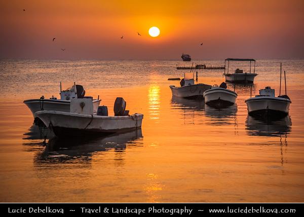 Middle East - GCC - Bahrain - Askar Beach - Asker Beach & Fisherman on their boats at Sunrise