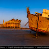 Middle East - GCC - Bahrain - Manama - Stranded Dhow - traditional boat in front of Shaikh Isa Library on Juffair beach