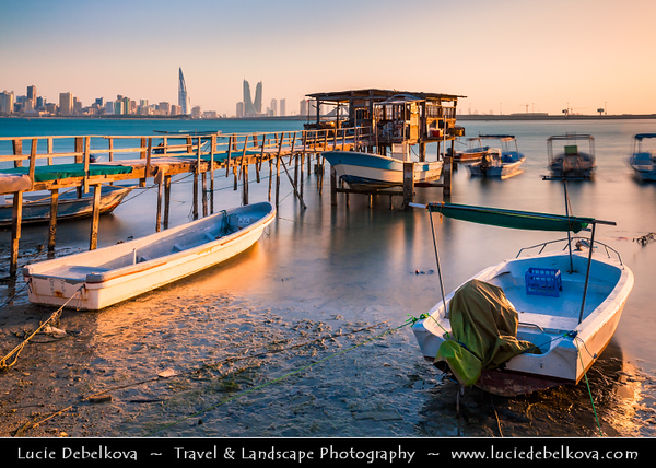 Middle East - GCC - Bahrain - Modern Manama City Skyline from traditional Muharraq area