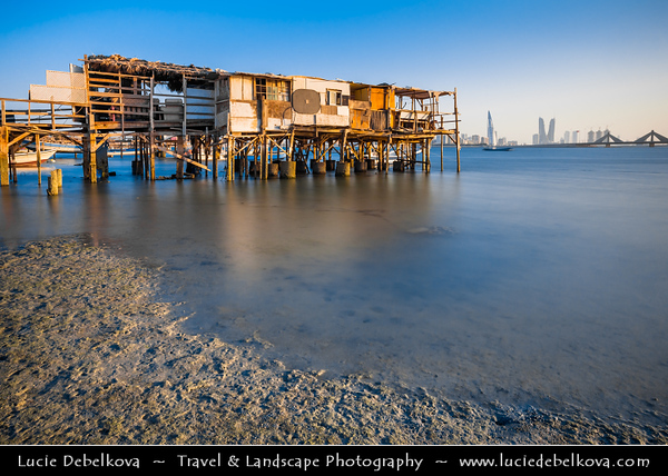 Middle East - GCC - Bahrain - Modern Manama City Skyline from traditional Muharraq area