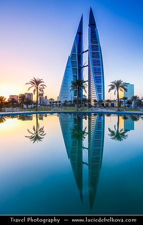 Middle East - GCC - Bahrain - Manama - Bahrain World Trade Center - WTC - 240-metre-high, 50-floor, twin tower complex - First skyscraper in world to integrate wind turbines into its design