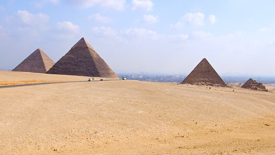 The view of the Giza plateau with Cairo in the background