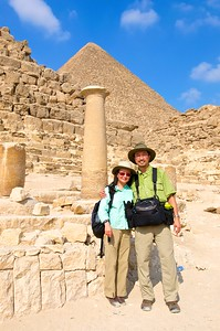 Posing in front of the ruins. Yes, the camera bag was heavy.