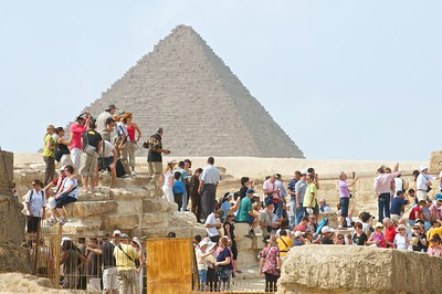This is the typical scene at most tourist sites in Egypt