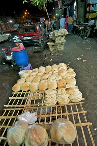 Stack of pita bread in the market