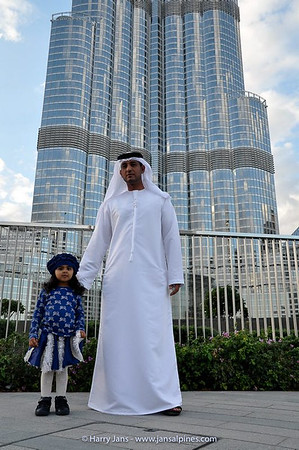 family near Burj Khalifa