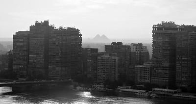 Distant Giza Pyramids
