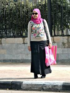 Woman in Pink Headscarf
