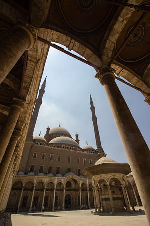 Courtyard view of the Mosque of Muhammed Ali in Cairo, Egypt.