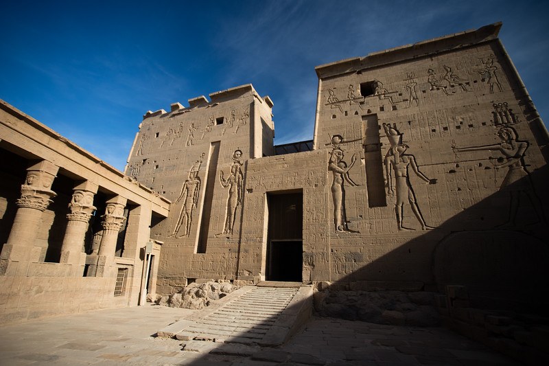 Architectural details of Philae Temple on a Nile island near Aswan, Egypt.
