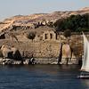 A felucca sails the Nile near Elephantine Island in Aswan, Egypt.