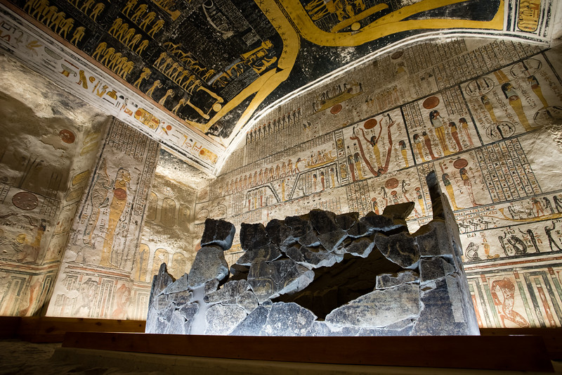 Inside the Tomb of Ramses 5 & 6 in the Valley of the Kings in Luxor, Egypt.