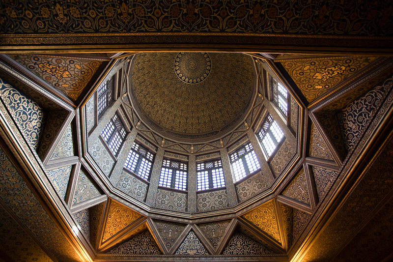 Architectural details of the interior of Manasterly Palace's Nileometer in Cairo, Egypt.